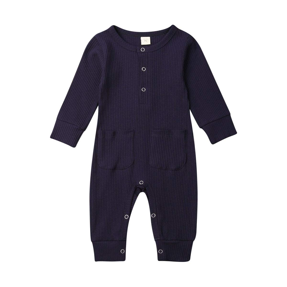 LddcryMbb Newborn Baby Boys Girls One-Piece Romper Long Sleeve Jumpsuit Bodysuit Clothes for 0-24Months
