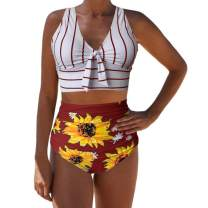 Sovelen Womens 2 Pieces Bowknot Shirre V Neck Bikini Sets Push Up Sunflower Print High Waist Bottom Swimsuits