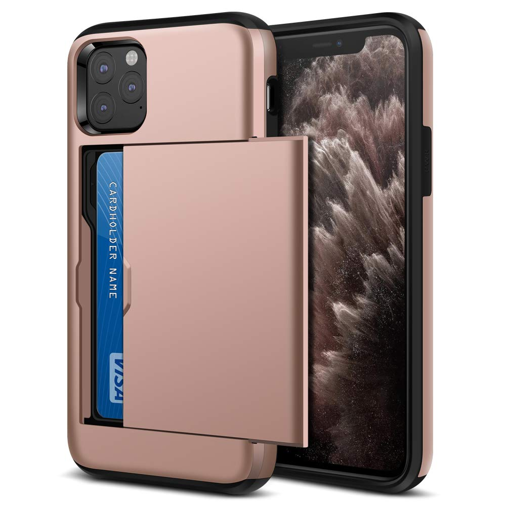 Jiunai iPhone 11 Pro Max Case, Shockproof Slim Card Holder Wallet Slide Cover for Credit Card Dual Layer Protective Anti Scratch Hard PC Soft TPU Cover Case for iPhone 11 Pro Max 6.5 inches Rose Gold