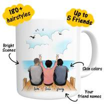 Custom Best Friend Coffee Mug Personalized Photo for Women Men - Customizable Name Cup For Friend Besties Friendship BFF Bridesmaid Graduation Birthday Moving Away