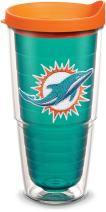 Tervis 1058614 NFL Miami Dolphins Primary Logo Tumbler with Emblem and Orange Lid 24oz, Emerald