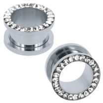 ZS 316L Stainless Steel Rhinestone Crystal Ear Tunnel Plugs Ear Gauges Expanders Body Piercing