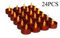 Halloween Flameless Candle, Led Battery Operated Brown Fake Electric Small Plastic Flameless Dropless Outdoor Indoor Home Party Pumpkin Decorative Halloween Decoration Candle Supplies Ideas, 24PCS