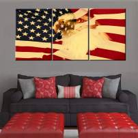 American Flag Decor Bald Eagle Head Pictures Patriotic Wall Art Red Yellow Paintings for Home 3 Piece Modern Artwork on Canvas Framed Ready to Hang in Living Room Posters and Prints(60''Wx28''H)