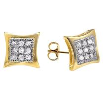 Dazzlingrock Collection 0.08 Carat (ctw) 18K Yellow Gold Plated Sterling Silver Round Diamond Mens Kite Shape Stud Earrings