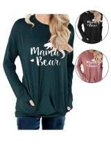 barnkas Women Mama Bear Shirt Loose Casual Tops T-Shirts Crew Neck Batwing Sleeve Sweatshirt Patches Blouse