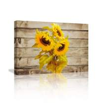 KALAWA Wall Art for Bedroom Sunflower Decor Wood Wall Art Sunflower Pictures on Wood Background Prints on Canvas Framed Rustic Wall Art for Office DecorationReady to Hang(16''Wx24''H)