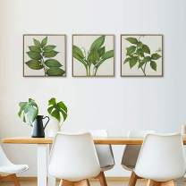 """MOTINI Green Leaf Oil Paintings Canvas Wall Art 18"""" x 18""""- Set of 3 - Wall Decor Textured 100% Hand Painted Wall Paintings Tropical Plants Canvas Artwork for Office Living Room Bedroom"""
