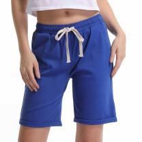 Gooket Women's Casual Elastic Waist Knee-Length Curling Bermuda Shorts