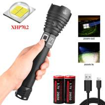 XHP70.2 LED Flashlight [Battery Include] - High Lumen, Zoomable, 3 Modes, Water Resistant, Handheld Light - Best for Camping, Outdoor, Emergency
