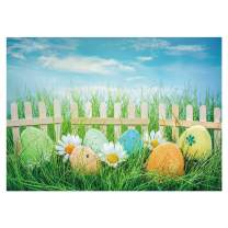 Funnytree 7x5FT Easter Scenery Photography Backdrop Flower Colorful Eggs Spring Grass Fence Background Baby Shower Birthday Party Cake Smash Decoration Supplies Banner Photo Booth Prop