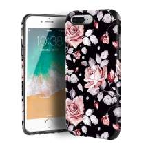 CUSTYPE iPhone 7 Plus Case, iPhone 8 Plus Case for Girls & Women, Floral Series Rose Prints Flower Pattern Design PC Leather with TPU Bumper Slim Protective Cover for iPhone 8 Plus/ 7 Plus 5.5''