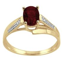 MauliJewels Oval Garnet and Diamond Wave Ring in 10K Yellow Gold