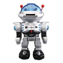 YARMOSHI Remote Control Combat Robot Toy - Shoots Disks, Flashing Lights, Sings, Dances, Plays Music & Battle Sounds, Walks Forwards and Backwards, Rotates 360°.Fun Gift For Girls & Boys. Age 5+(BLUE)
