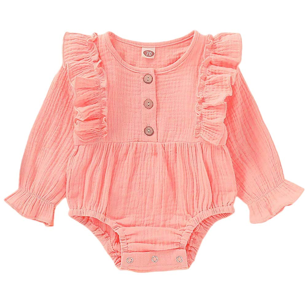 Byinns Baby Romper Long Sleeve Ruffles One-Piece Jumpsuit Outfits Newborn Infant Toddler