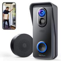 Victure WiFi Video Doorbell Camera 1080P HD with Chime Smart Doorbell Battery Powered with Night Vision Motion Activated Alerts and Tow Way Audio for Home Security