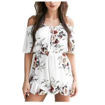 Taiduosheng Women's Off-Shoulder V-Neck Floral Print Short Romper Jumpsuit