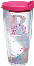 Tervis INITIAL-B Botanical Insulated Tumbler with Wrap and Fuschia Lid, 24oz, Clear