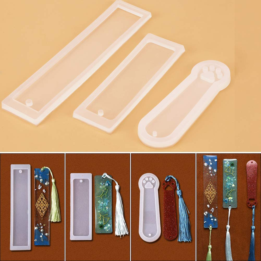 Silicone Resin Molds, Rectangle Silicone Bookmark Mold Set, 3 Pcs DIY Bookmark Mould Making Epoxy Resin Jewelry DIY Craft Silicone Transparent Mold