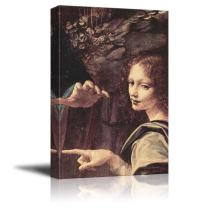 "wall26 - Virgin of The Rocks (Detail) by Leonardo Da Vinci - Canvas Print Wall Art Famous Oil Painting Reproduction - 24"" x 36"""