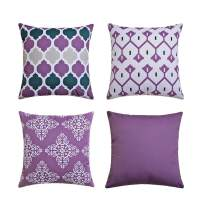 Andreannie Pack of 4 Outdoor Waterproof Double-Sided Printing Decorative Throw Pillow Cover Cushion Case for Garden Tent Park Farmhouse Polyester Both Sides Square 18 x 18 inches (Set of 4 Purple)