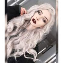 QLQUEENLIFE Platinum Blonde Wig White Wig Ash Blonde Wig Blonde Lace Front Wig Natural Long Curly Wavy Synthetic Fiber Hair Replacement Wigs for Women 30inch (Platinum)
