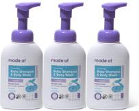 Organic Baby Wash and Shampoo Foaming by MADE OF - for Sensitive Skin and Baby Eczema Wash - NSF Organic and EWG Verified - Made in USA - 10oz (Lavender, 3-Pack)
