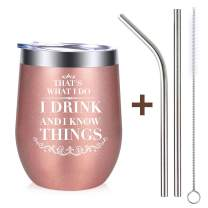 MJartoria I DRINK AND I KNOW THINGS, Wine Glass Mug Tumbler with Lid Stainless Steel Straw Brusher Funny Congratulations Birthday BFF Gift for Friend