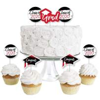 Big Dot of Happiness Red Grad - Best is Yet to Come - Dessert Cupcake Toppers - Red 2020 Graduation Party Clear Treat Picks - Set of 24