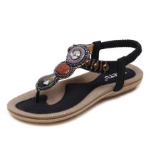 MAKEGSI Summer Women Beading Bohemian Casual Beach Flat T-Strap Sandals Extra Size US 11.5