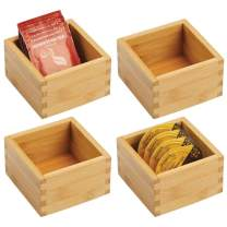 "mDesign Bamboo Kitchen Cabinet Drawer Organizer Tray Bin - Eco-Friendly, Multipurpose - Use in Drawers, on Countertops, Shelves or in Pantry - 4"" Square - 4 Pack - Natural Wood Finish"