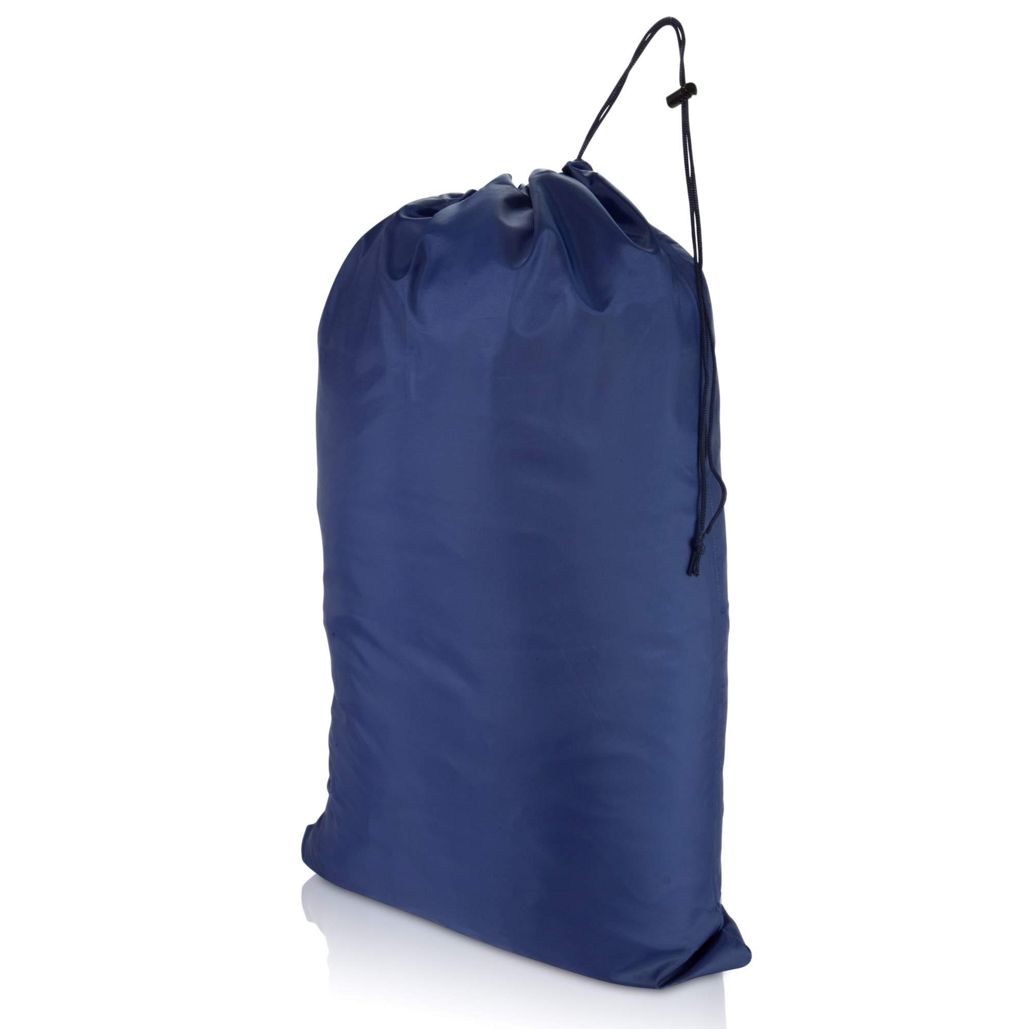 DALIX Large Laundry Bag Drawstring Sack Heavy Duty Tear Resistant in Navy Blue