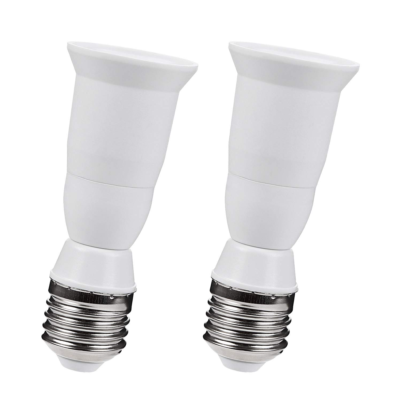 TORCHSTAR E27 to E27 Extender Adapter, E27 to E27 Edison Screw Converter Lamp Bulb Socket Lamp Holder, Fits LED/CFL Light Bulbs, Heat-resistant, Anti-burning, No Fire Hazard, Pack of 2