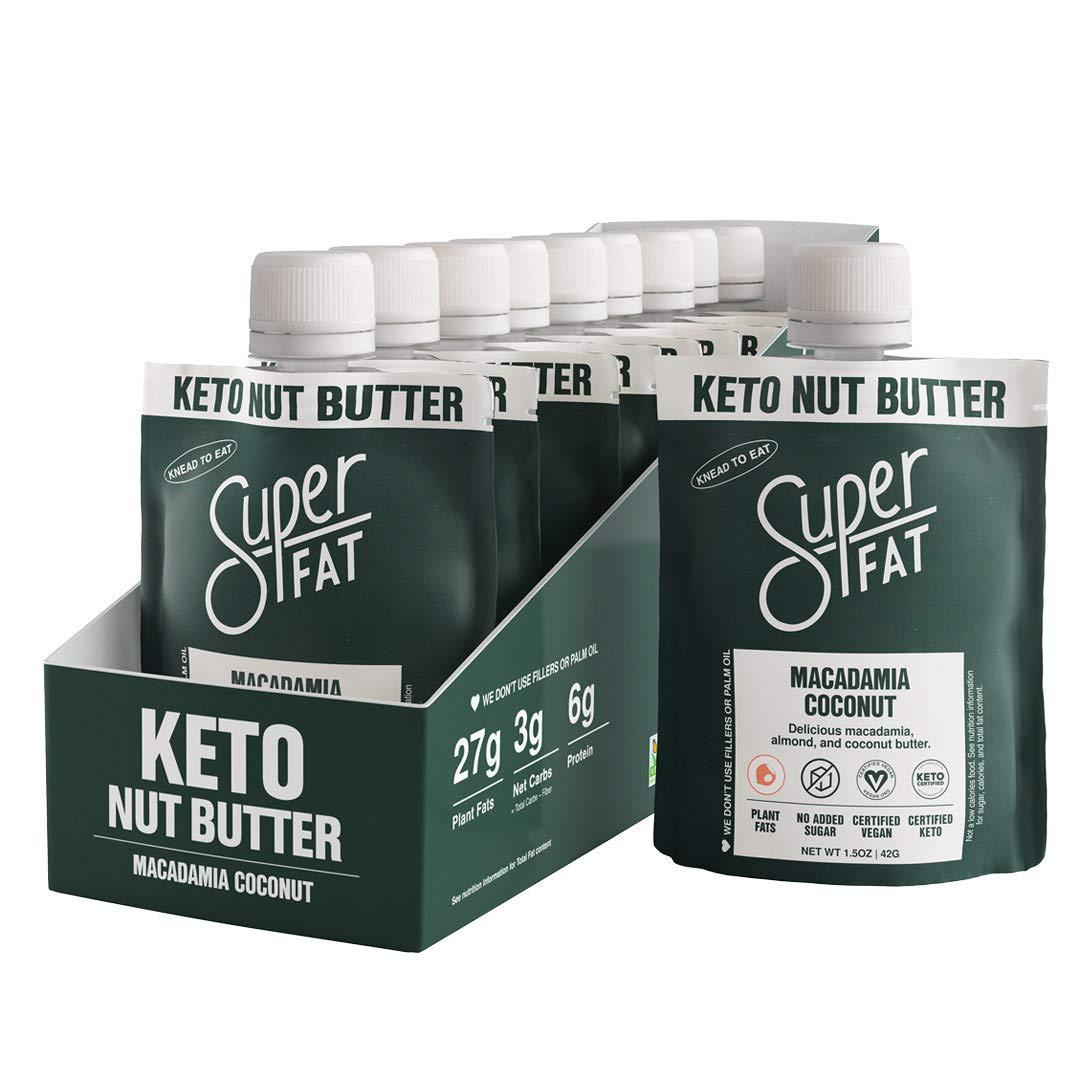SuperFat Nut Butter Keto Snacks - Macadamia Almond Nut Butter Fat Bomb Paleo Snack For Energy, Metabolism & Brain Function, Vegan, Gluten Free, Low Net Carb Box of 10 x 1.5 oz (Macadamia Coconut)