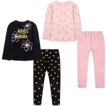 LZH Little Girls 4-Pack Clothes Set Cotton Long Sleeve Top Leggings Pajamas Sleepwear Set