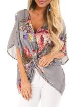 LOSRLY Women V Neck Casual Floral Printed Shirt Short Sleeve Front Twisted Blouses and Tops