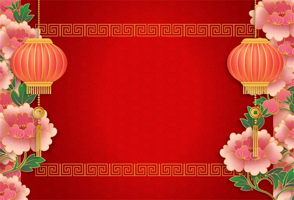 AOFOTO 7x5ft Chinese Red Lantern Pink Peony Backdrop China Happy New Year Decoration Spring Festival Culture Riches and Honor Peony Flowers Red Background for Photography Photo Studio Props Vinyl
