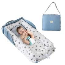 Brandream Portable Crib for Travel, Gray Star Newborn Nest Bed Lounger Baby Bassinets for Nest/Cot Sleeping, Cotton Breathable & Hypoallergenic, Baby Shower Gift
