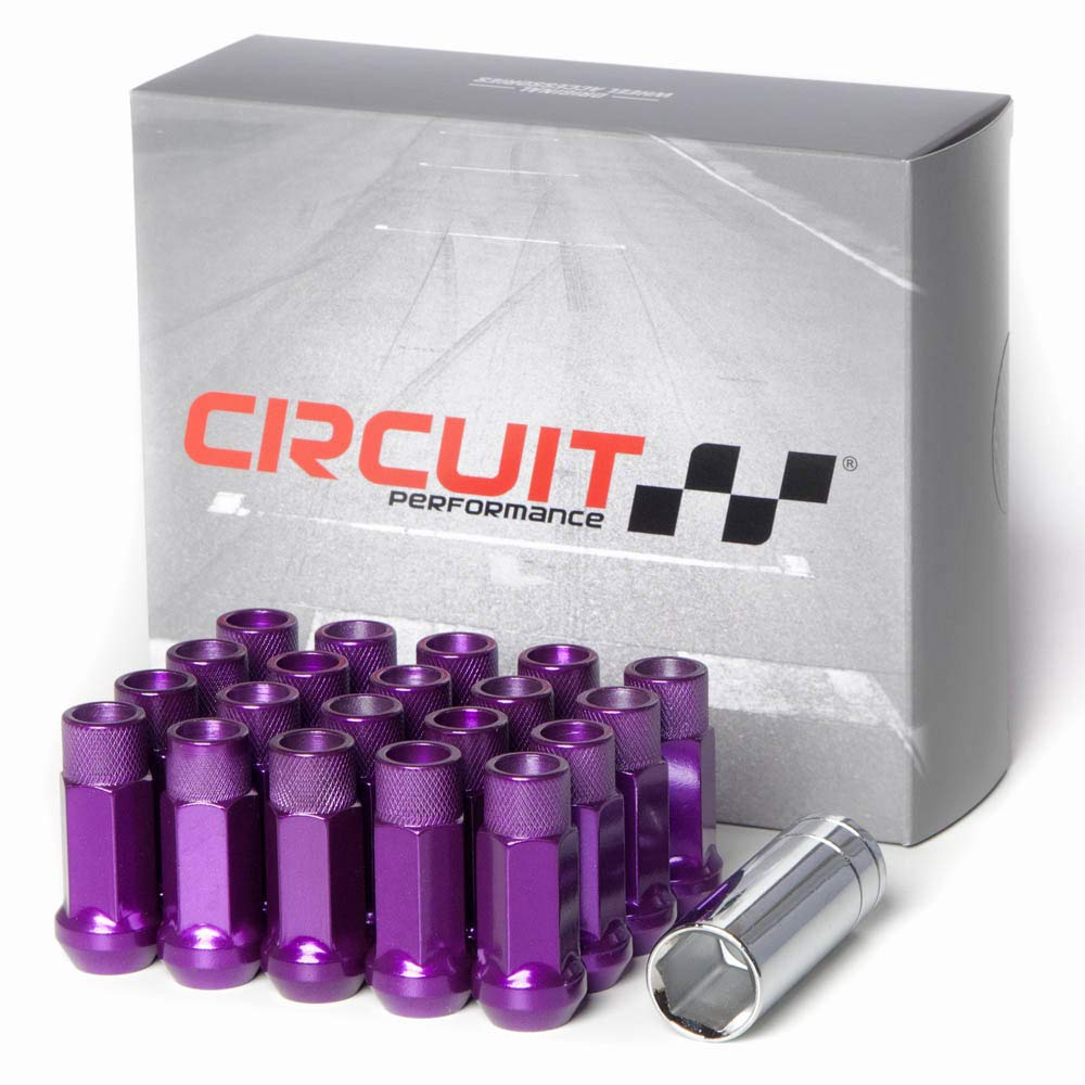Circuit Performance Forged Steel Extended Open End Hex Lug Nut for Aftermarket Wheels: 12x1.25 Purple - 20 Piece Set + Tool