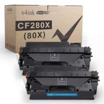 V4INK 2PK Compatible Toner Cartridge Replacement for HP 80X CF280X CF280A Toner Ink High Yield for HP Laserjet Pro 400 M401 M401a M401d M401dn M401dne M401dw M401n MFP M425dn M425dw Printer