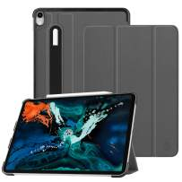 """Fintie SlimShell Case for iPad Pro 12.9"""" 3rd Gen 2018 [Supports 2nd Gen Pencil Charging Mode] - Lightweight Stand Cover with [Secure Pencil Holder] Auto Sleep/Wake, Space Gray"""