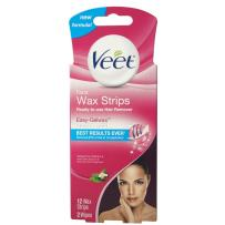 Hair Removal Wax Strips– VEET Easy- Gelwax™ Technology, Sensitive Formula Ready-to-Use Hair Remover Face Wax Strips with Shea Butter & Acai Berries Fragrance, 12 wax strips with 2 wipes
