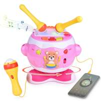 Toy Drum Set Musical Instruments for Toddlers Musical Toys, Baby Toys with Adjustable Microphone,Drumsticks,Audio Cable,8 Dynamic Rhythm and More Fun Battery Operated