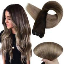 Full Shine 16 Inch Remy Hair Weft Balayage Extensions Sew In Hair Color 2 Brown Fading To 6 and 18 Ash Blonde Hair Weaves Remy Hair Extension 100 Gram Weft Hair Bundles For Braiding