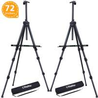 """Display Easel Stand, Ohuhu 72"""" Aluminum Metal Tripod Field Easel with Bag for Table-Top/Floor, 2-Pack Black Art Easels W/Adjustable Height from 25-72"""" for Poster, Paint Back to School"""