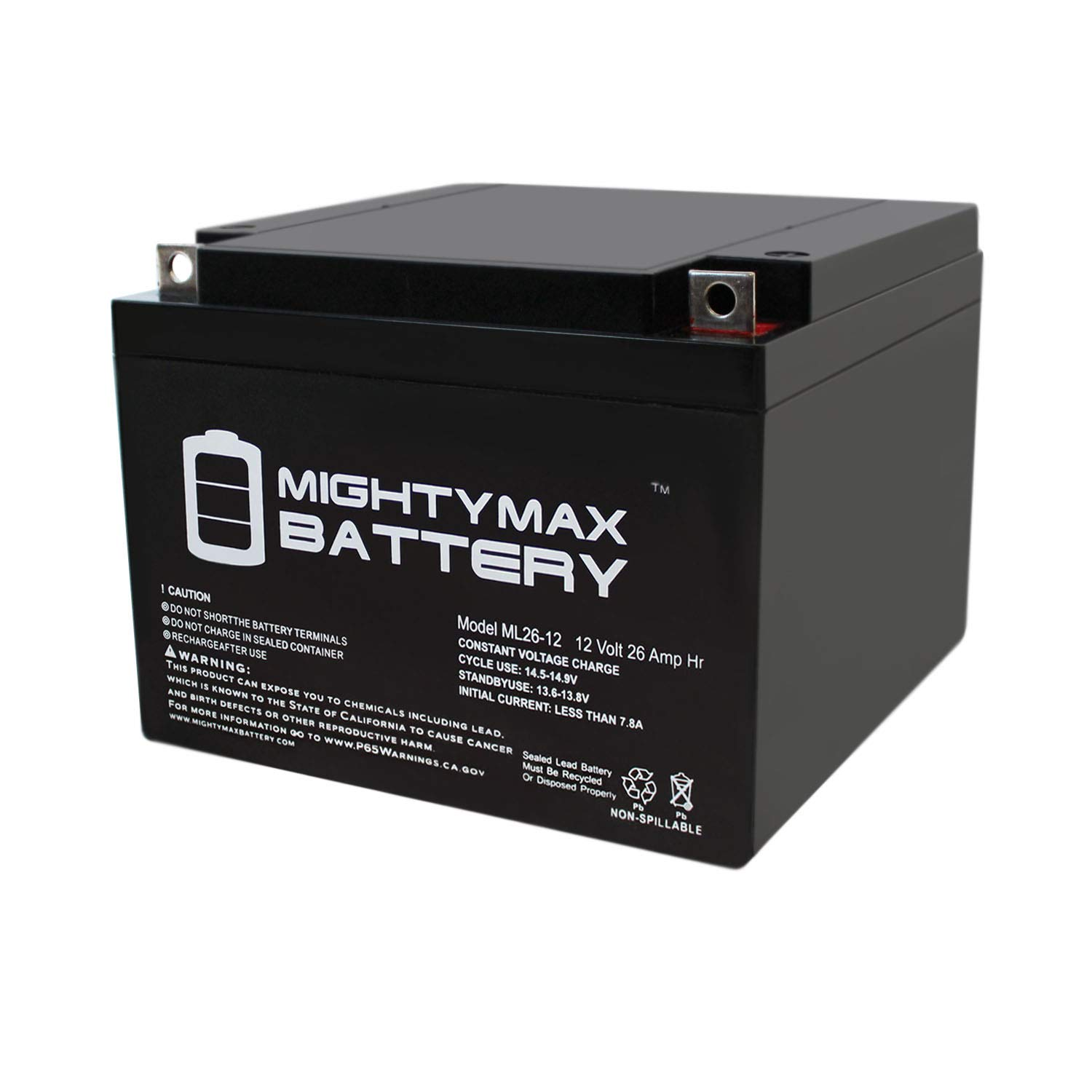 ML26-12 - 12V 26AH Rechargeable SLA Battery - Mighty Max Battery Brand Product