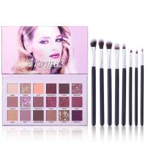 UCANBE Aromas Eyeshadow Palette + 8pcs Soft Eye Shadow Makeup Brushes Set Kit, Shimmer Matte Glitter High Pigmented Long Lasting Blending Pallet