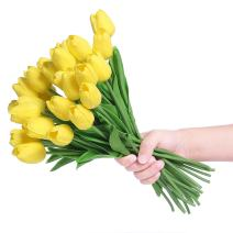 Veryhome PU Fake Tulip Artificial Flower Real Touch for Wedding Room Home Hotel Party Decoration and DIY Welcome Door Wreath Decor (Pack of 20, Yellow)