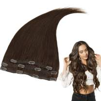 RUNATURE Clip in Human Hair Extensions 10 Inches Color 2 Dark Brown 50g (3 Pieces) Double Weft Clip Extensions Real Human Hair for Women