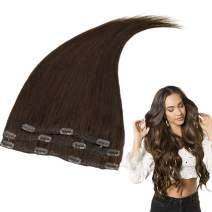 RUNATURE Human Clip in Hair 12 Inches Color 2 Dark Brown (3 Pieces,50g) Real Human Hair Extensions Clip on for Women
